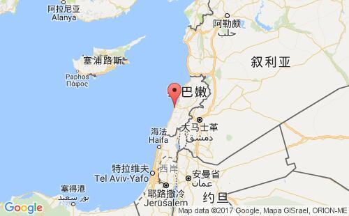黎巴嫩港口地图图片