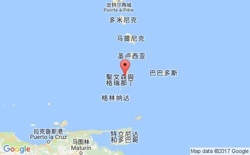 圣文森特和格林纳丁斯港口地图图片
