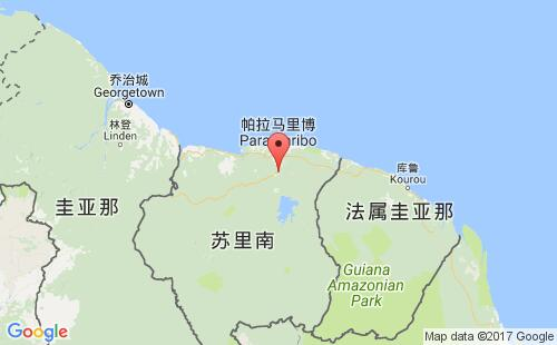 苏里南港口地图图片