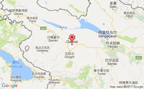 阿塞拜疆港口占贾gence港口地图