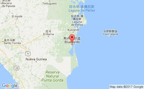 尼加拉瓜港口布卢菲尔兹bluefields,ni港口地图