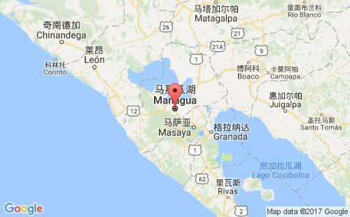 尼加拉瓜港口马那瓜managua港口地图