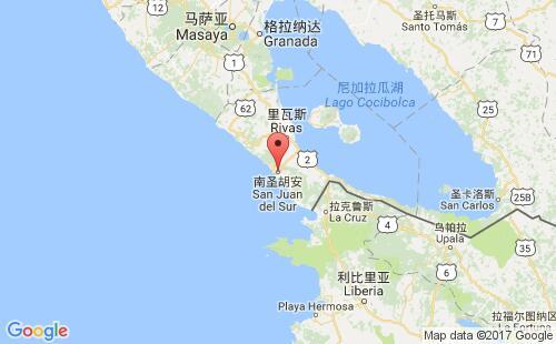 尼加拉瓜港口南圣胡安san juan del sur港口地图