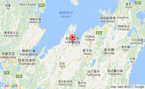 瑞典港口利德雪平lidkoping港口地图