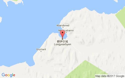 斯瓦巴和扬马延港口朗伊尔城longyearbyen港口地图